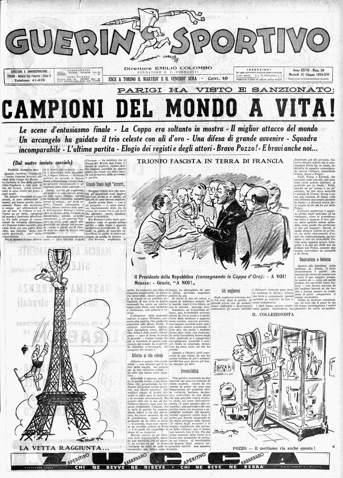 Risultati immagini per campionati del mondo fifa 1938