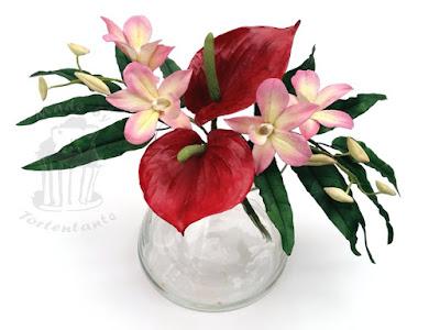 Orchideen und Anthurien aus Blütenpaste