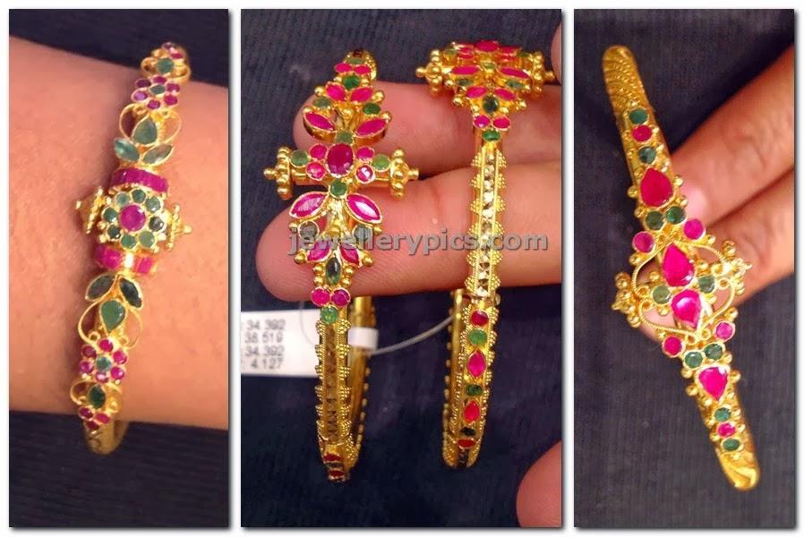 ruby emerald kada bracelets in gold