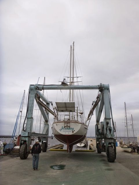 pearson 365 sailboat in travel lift