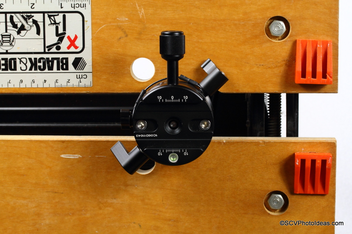 Sunwayfoto DDP-64MX with DDY-64 Discal QR clamp on workbench