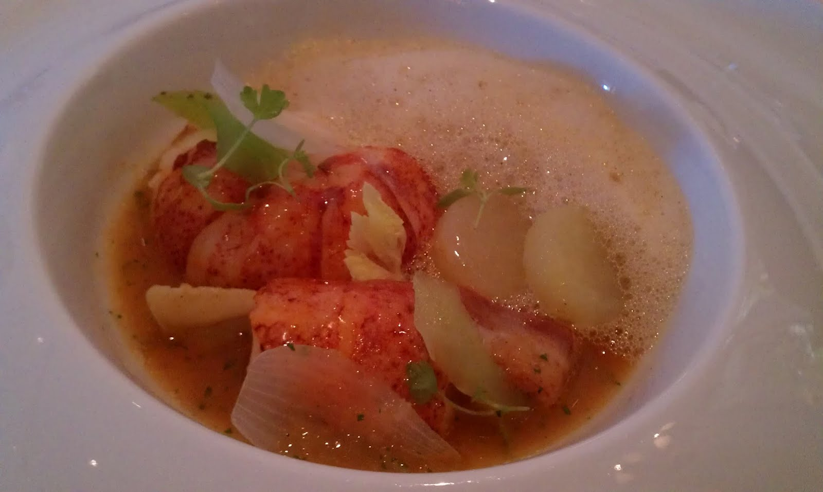 Sweet butter poached lobster fricasee - Yukon gold potatoes, celery ...