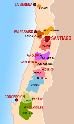 WINEReno Spiteris Wineopolis The Worlds Top Ten Most Famous - Chile regions map