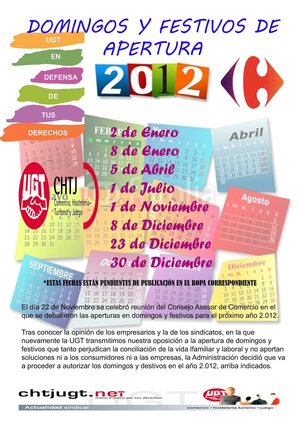 ugt carrefour asturias domingos y festivos de apertura