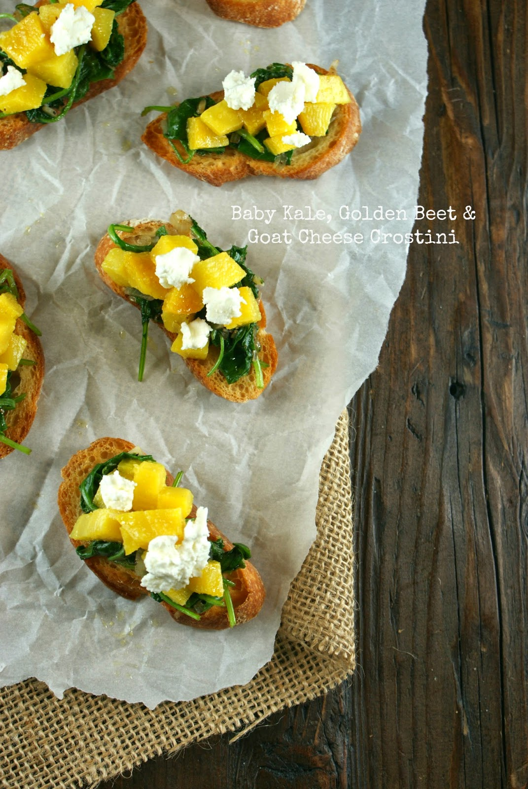 baby kale, golden beet and goat cheese crostini   friday night bites