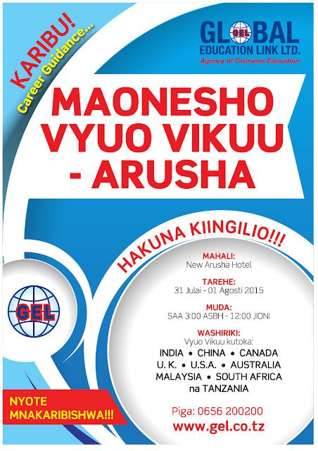 GLOBAL EDUCATION LINK INAKUKARIBISHA KATIKA MAONYESHO YA VYUO VIKUU - ARUSHA