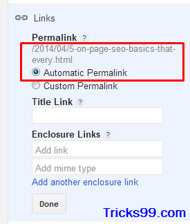 automatic Permalink' feature in blogger for On-Page SEO.