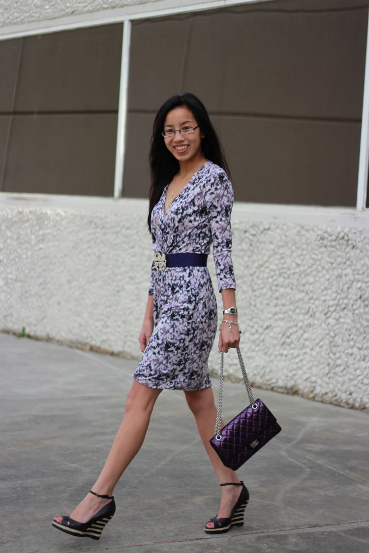 purple outfit chanel metallic reissue purple classic flap printed patterned dress