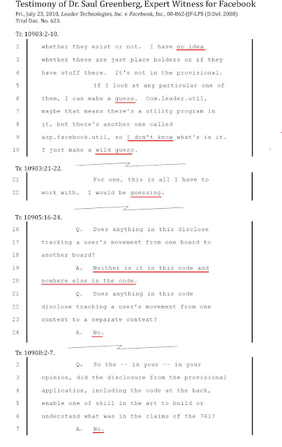 Fig. 6.1 - Excerpts from the testimony of Facebook expert witness Dr. Saul Greenberg regarding the only Leader source code placed into evidence in the trial. This source code was contained in the provisional patent application. Dr. Greenberg testified that this source code did not disclosure the '761 invention. However, regarding the on sale/public disclosure claim, Facebook argued that the entire invention was ready for patenting (without showing any additional source code). Trial Doc. No. 623. Tr. 10903-10908.