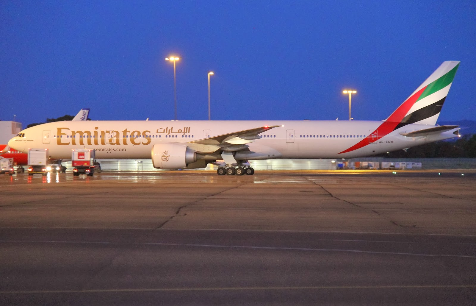 Adelaide Airport Movements Emirates B777 300er A6 Egw