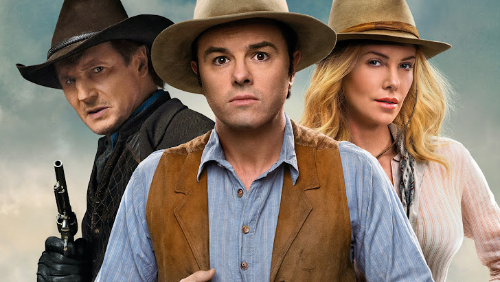 liam neeson as clinch, seth macfarlane as albert and charlize theron as anna