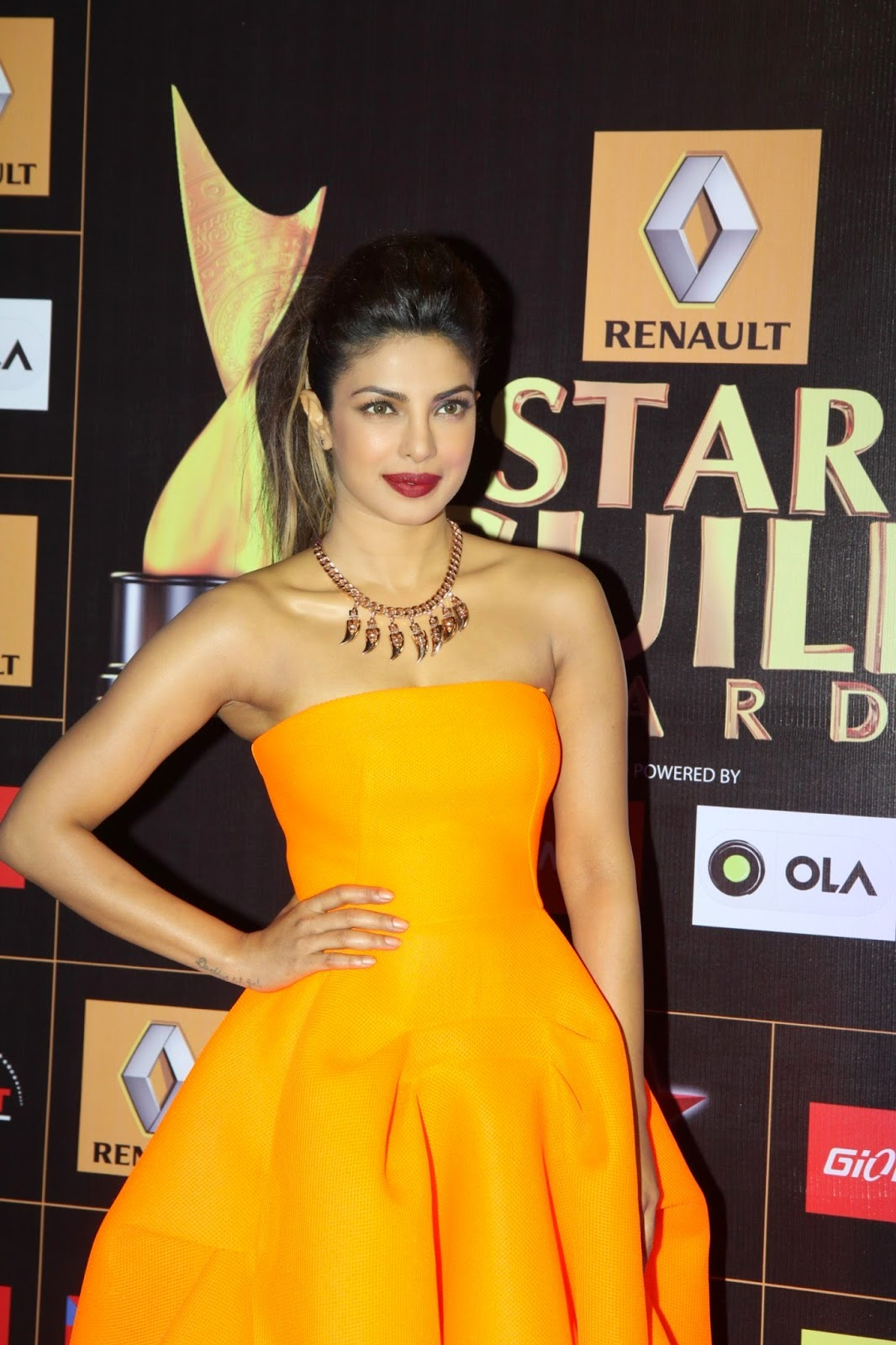 Priyanka Chopra Orange Strapless Dress