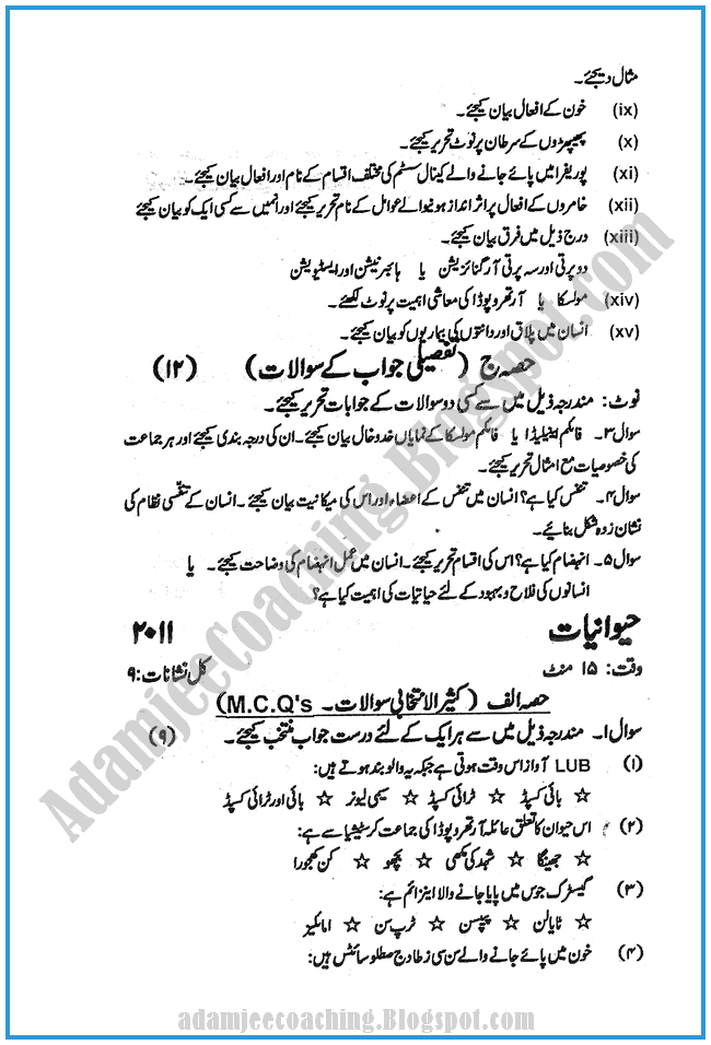 Zoology-urdu-2012-past-year-paper-class-XI