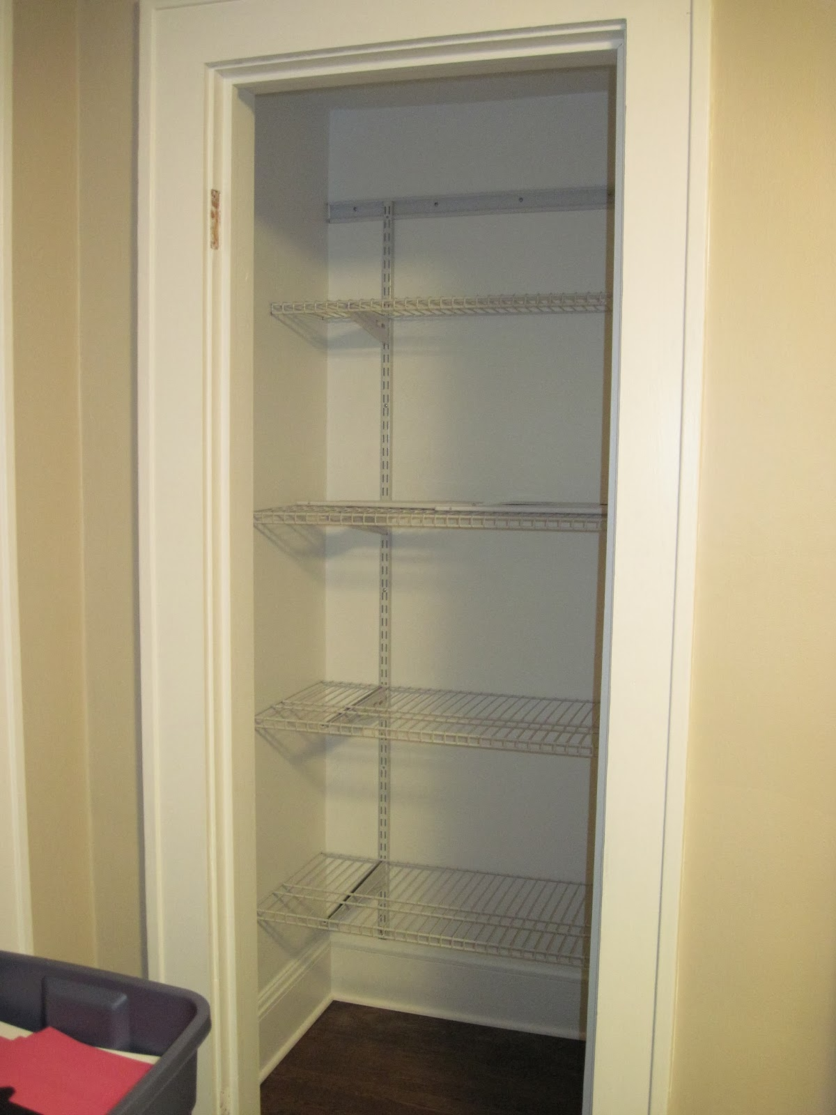 The shelves can be moved to accommodate different heights or taken out