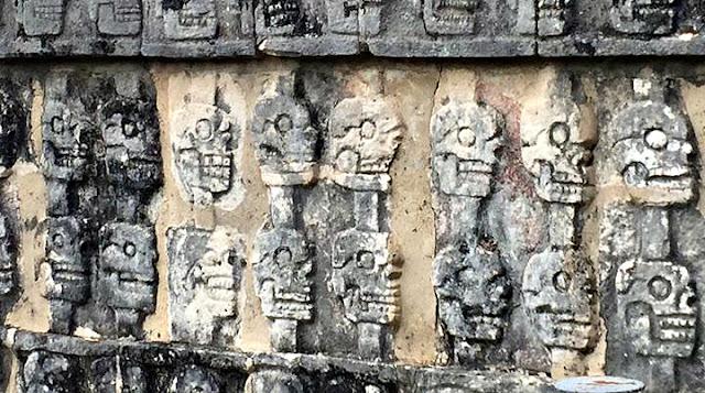 Skull carvings at Chichen Itza.