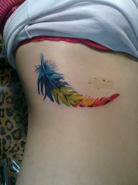 rainbow feather tattoo designs the image kid has it. Black Bedroom Furniture Sets. Home Design Ideas