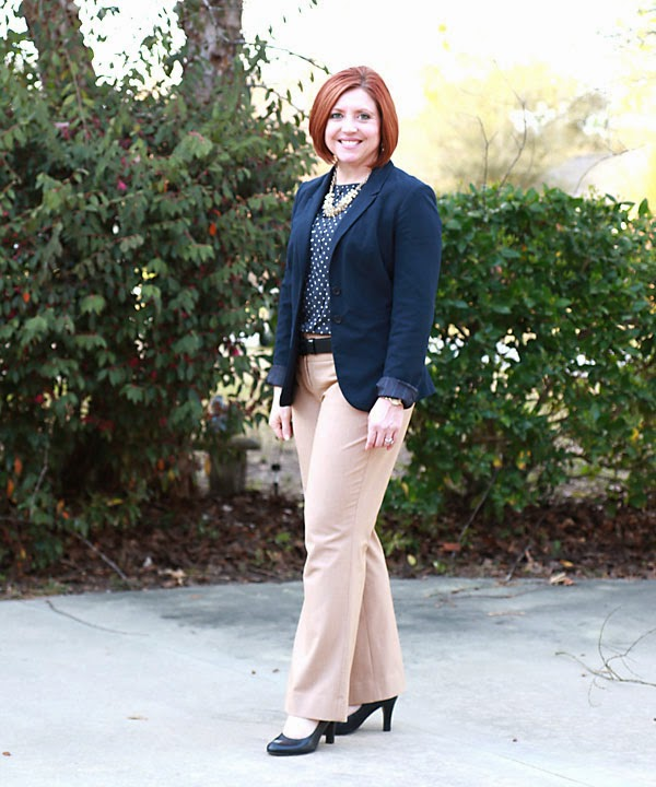 navy and camel office outfit