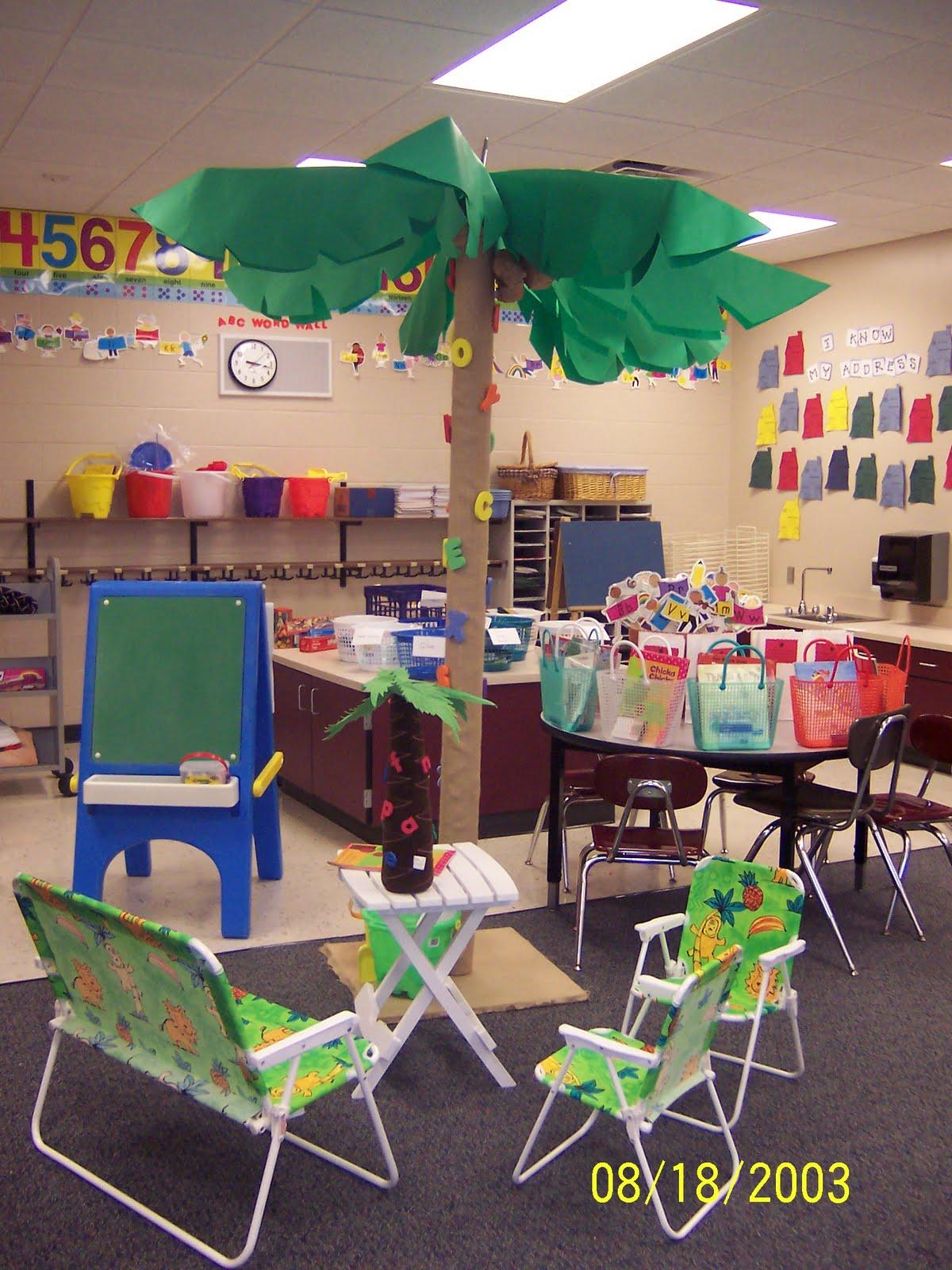 Classroom Luau Ideas ~ Tropical luau themed classrooms clutter free classroom