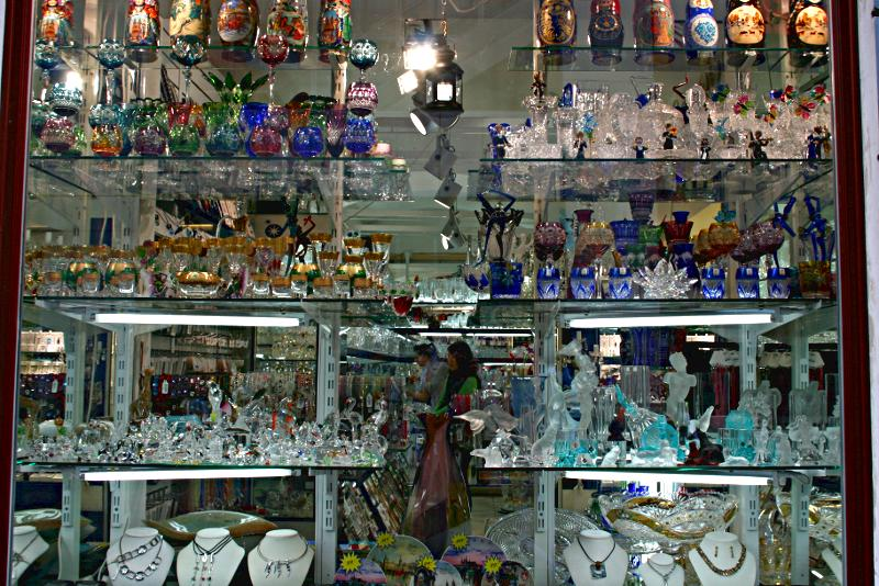 shop window full of crystal ornaments and jewellery