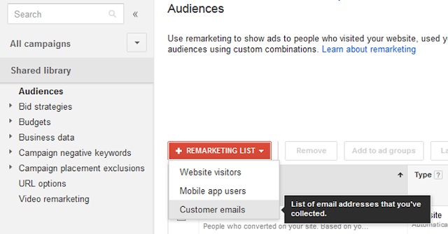 Find Customer Emails Option Under +Remarketing List