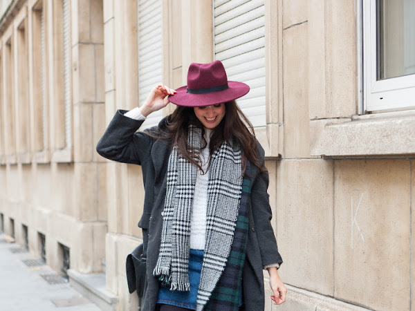 Outfit: winter layers in plaid scarf and long coat