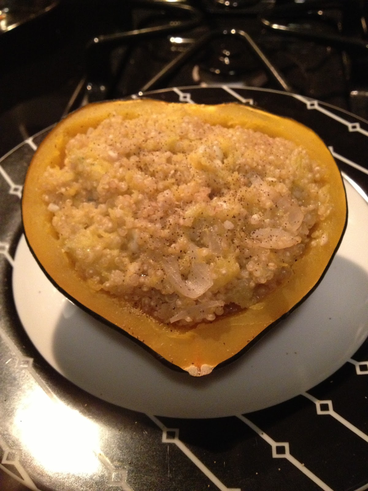 TWICE-BAKED ACORN SQUASH WITH QUINOA AND GORGONZOLA