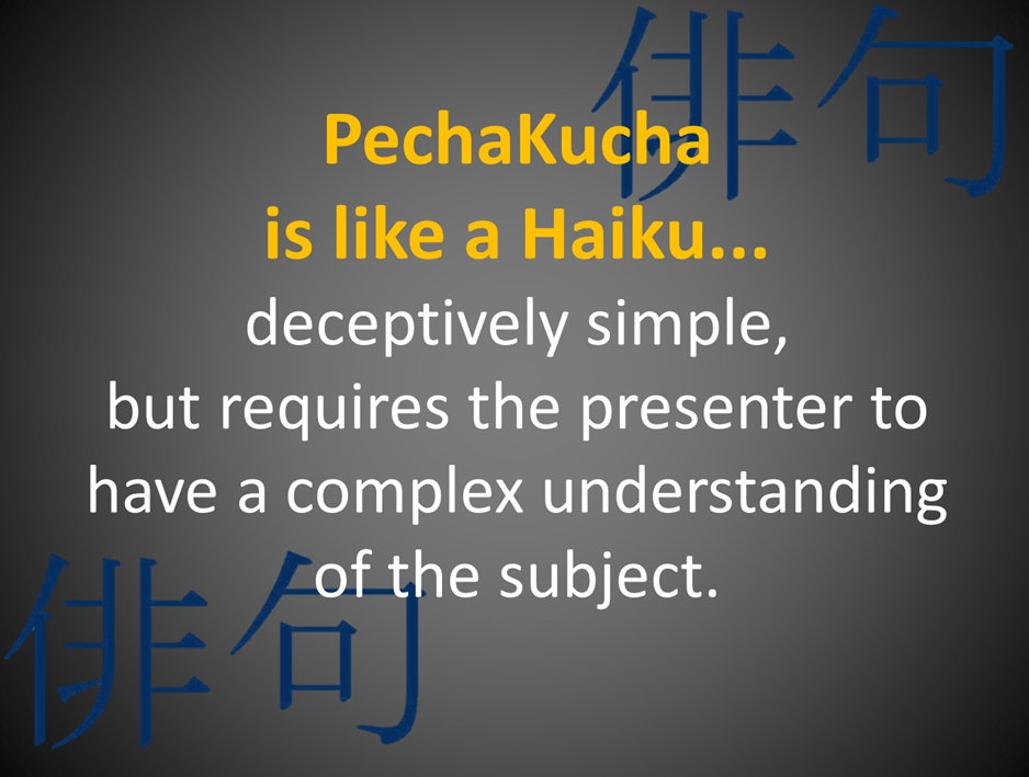 Sols teachtech blog pechawhat alternative presentation click here for the full recording the most popular of these is pechakucha pk where students are given 20 slides pronofoot35fo Images