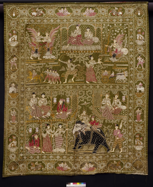 Burmese traditional wall hanging depicting scenes from Jataka stories