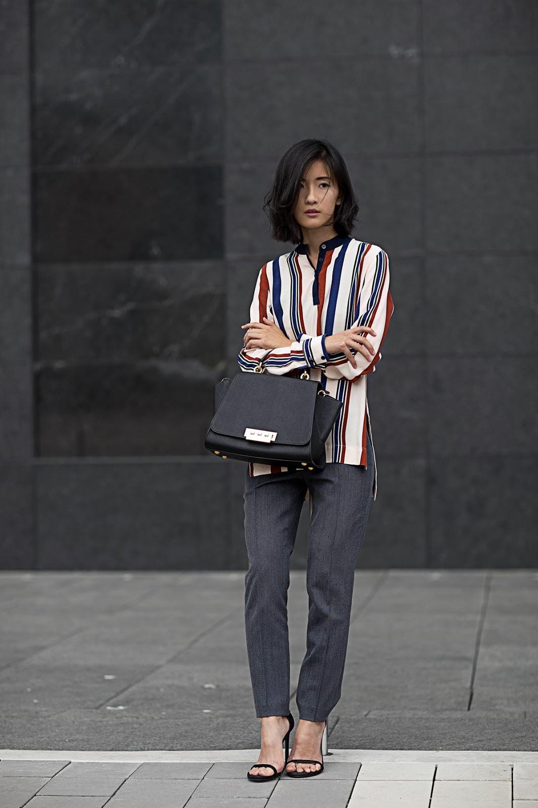 von vogue topshop striped shirt zac posen bag
