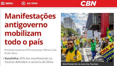 Datafolha: 85% dos manifestantes na Paulista defendem a renúncia de Dilma