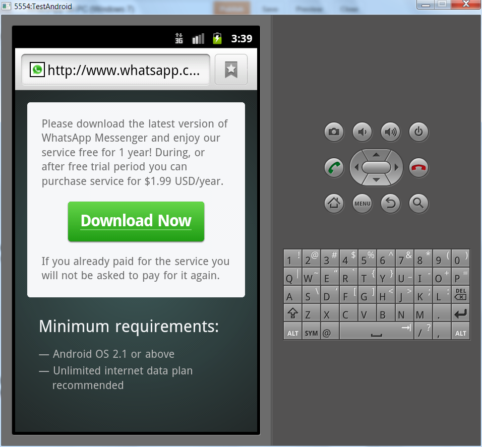 Download WhatsApp.apk and install it.