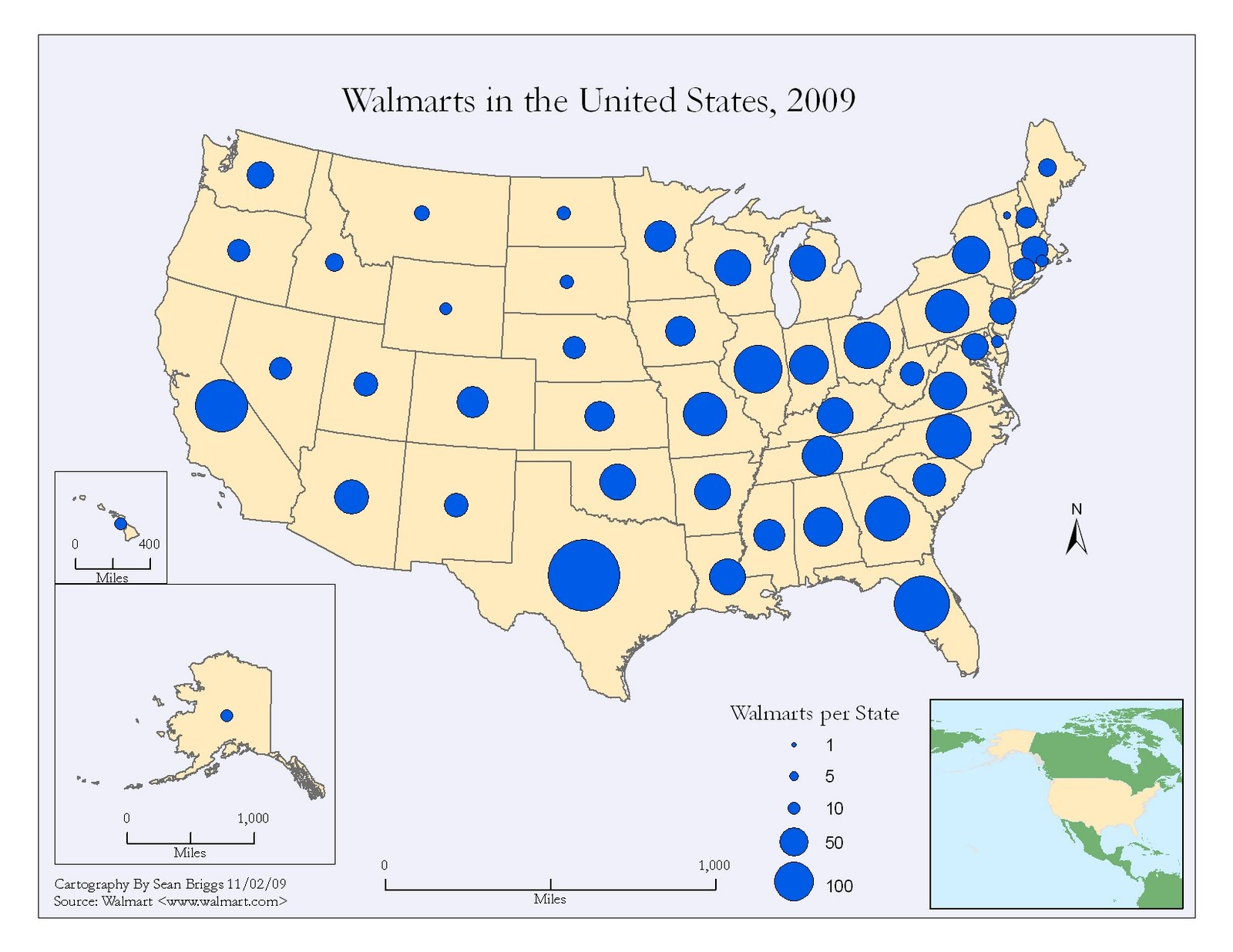 Map Catalog Proportional Circle Map Walmart 2007
