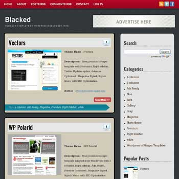 Blacked blogger template. free blogspot template elegant style