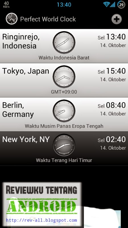 Tampilan utama aplikasi PERFECT WORLD CLOCK - aplikasi android jam dunia dan memiliki widget (rev-all.blogspot.com)