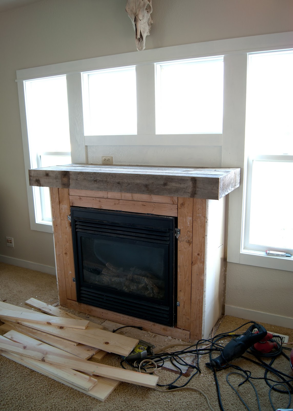 Fireplace Makeover - Reclaimed Wood Mantel