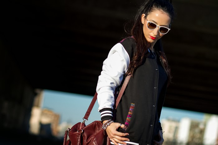 Fashion Blogger with Varsity Jacket: 2nd Fleur by COUTIE
