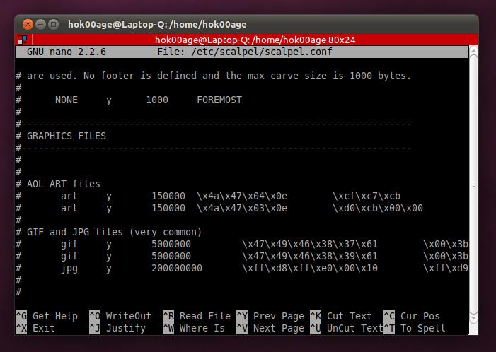 File konfigurasi Scalpel