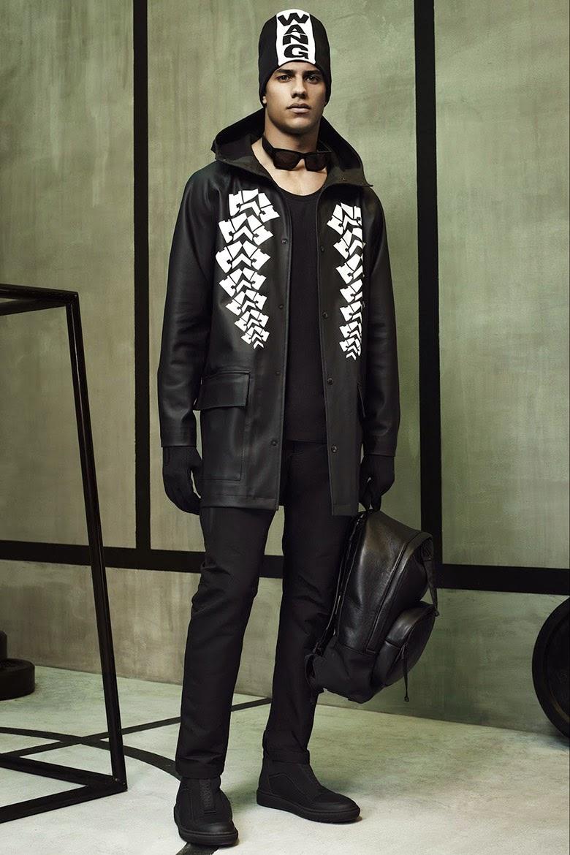 Collection Hommes Alexander Wang x H&M 2014 neoprene sportswear fashion bonnet parka cuir sac à dos cuir