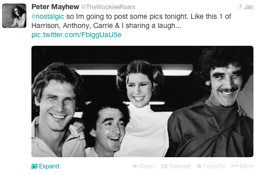 Star Wars Actor Chewbacca Shares Nostalgia Tweet