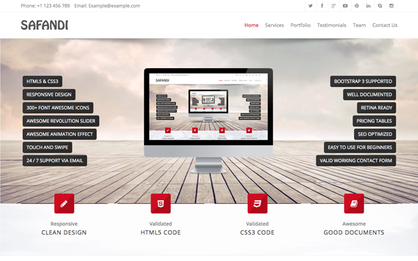Download Safandi - HTML5 / CSS3 One Page Template - v1.1 | Bootstrap ...