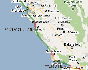 California Highway Road Trip Map on