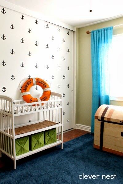 Anchor decal wall downloadable Silhouette file included #nautical #nursery #joanncrafts #boysroom #lime_aqua_navy