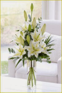 White Scented Lily Vase Delivery in Ireland
