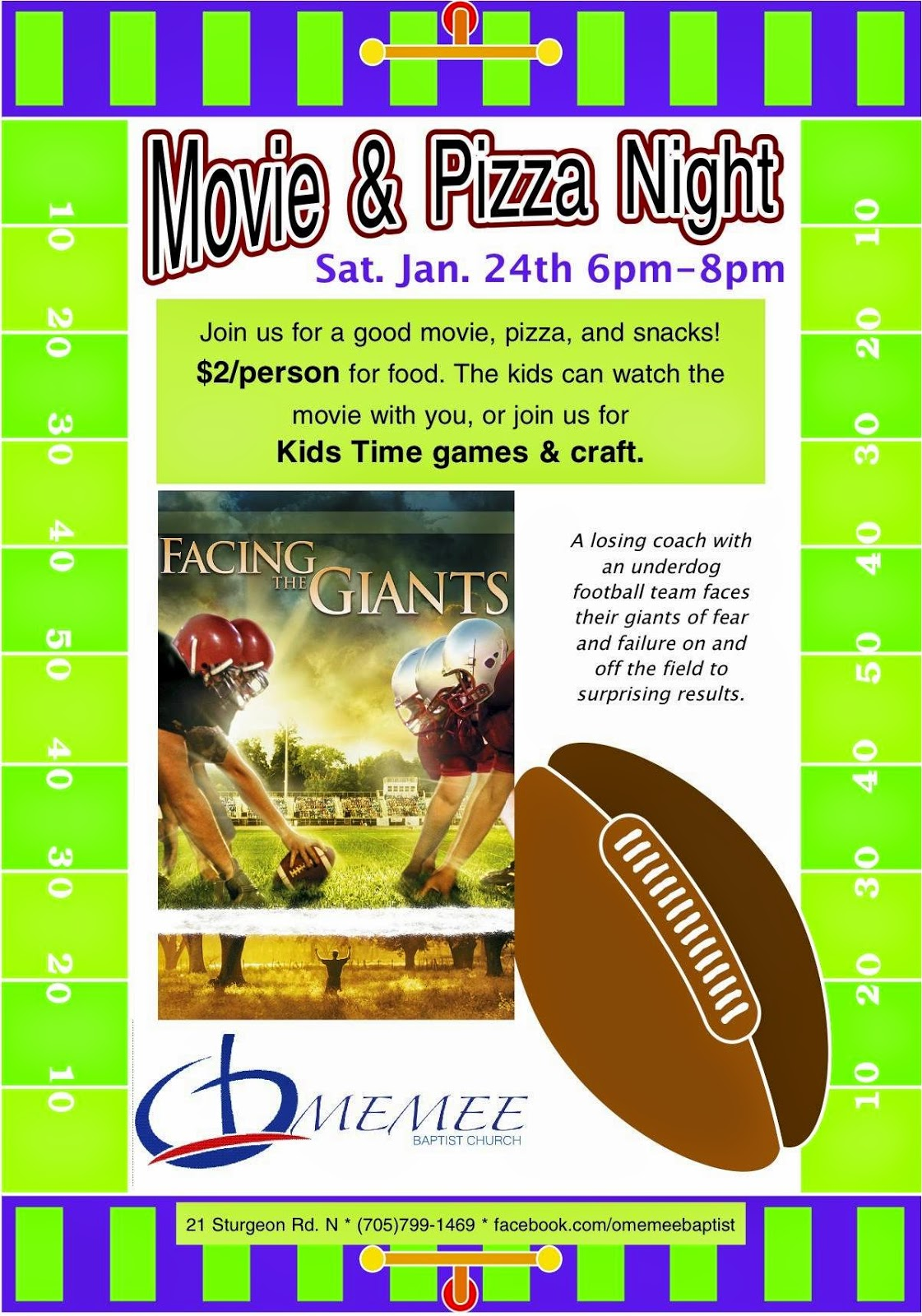 image Omemee Baptist Church January 24th Movie Night Facing the Giants Jan 24