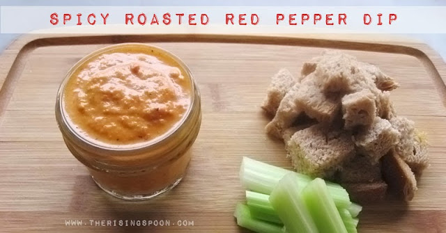 Spicy Roasted Red Pepper Dip | www.therisingspoon.com