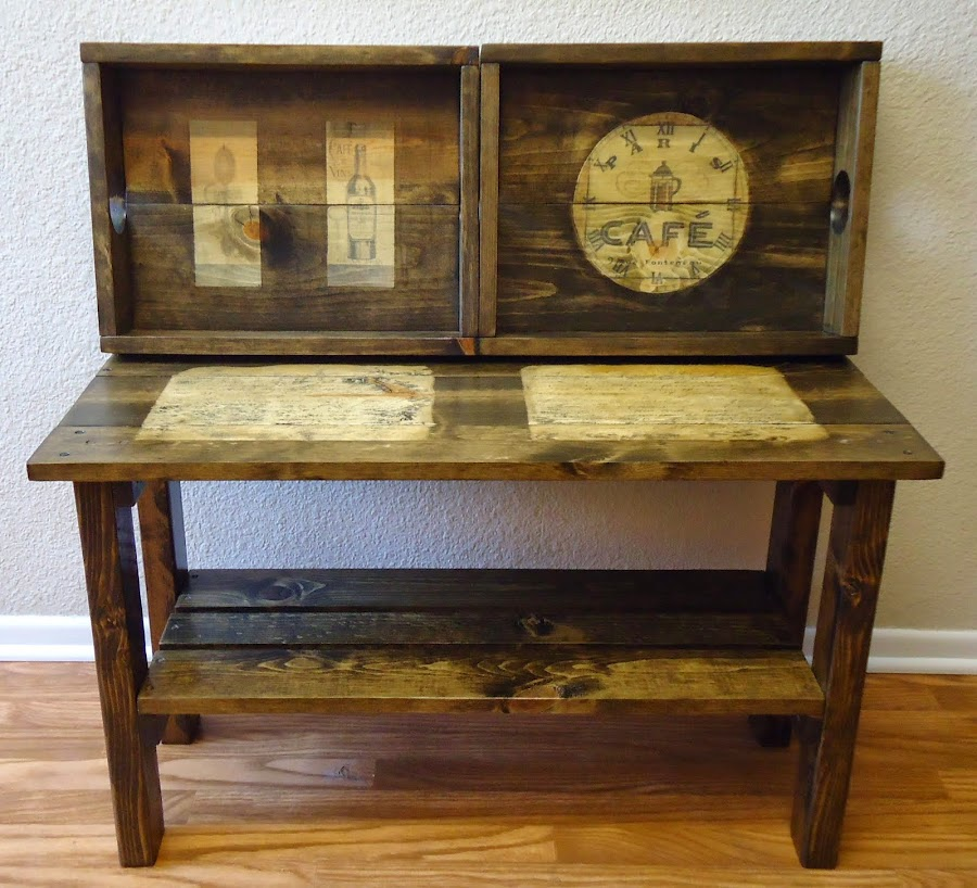 French Typography Table with Two Removable Trays - SOLD