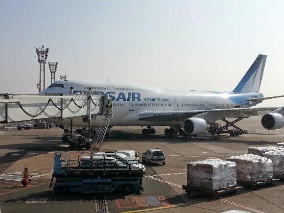 Image du Boeing 747 de la compagnie Corsair sur le tarmac de l'aéroport d'Orly