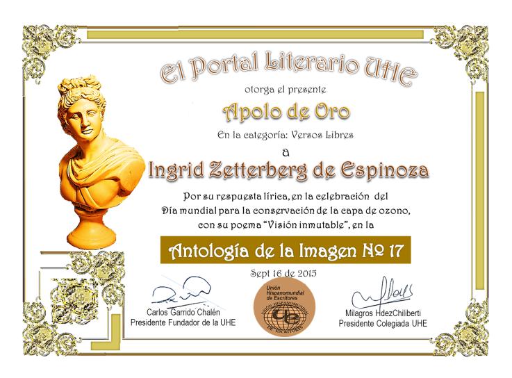 Apolo de oro...Primer puesto en Unión Hispano mundial de escritores