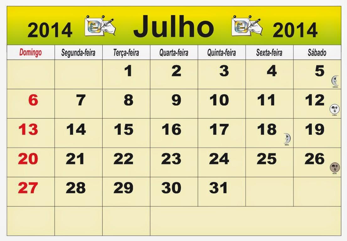 ... Brasil do mês de Julho 2014, com as fases da lua e feriados nacional