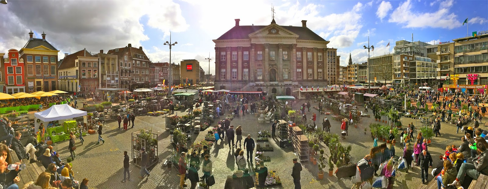 Panorama shot of the flower market (bloemetjesmarkt) in Groningen, the Netherlands.
